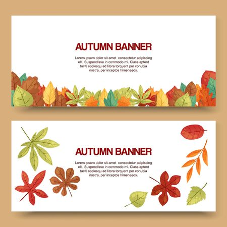 Autumn leaves set of banners vector illustration. Green, red, orange, brown and yellow falling leaves. Colorful maple, chestnut and oak foliage. October season. Natural design.