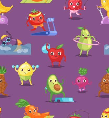 Fruits sportsman vector fruity expression of sporting cartoon character workout doing fitness exercises illustration set of vegetables with funny apple banana in sport isolated on white background Ilustração