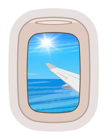 Aairplane window vector traveling by plane and porthole view in flight illustration tourism set of windowpane in aircraft transport and aeroplane isolated on white background Ilustrace