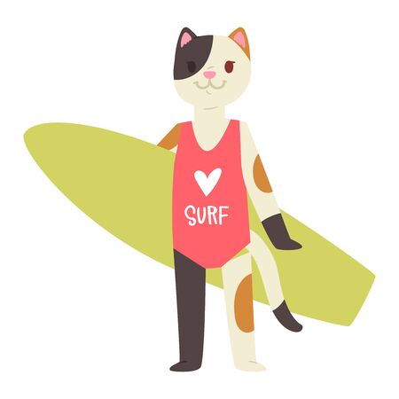 Surf vector cat animal surfer character surfing on surfboard illustration animalistic cartoon young sportsman kitty girl and on wakeboard isolated on white background Ilustração