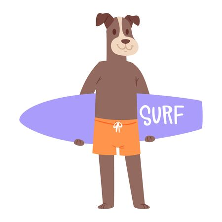 Surf vector dog animal surfer character surfing on surfboard illustration animalistic set of cartoon young sportsman doggy boy on wakeboard isolated on white background