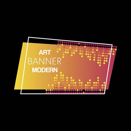 Geometric neon vector modern illuminated banner. Glossy neon plastic material style. Night club yellow light banner with lettering on black background.
