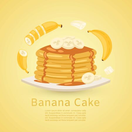 Banana and pancake recipe with pictures of bananas and maple syrup on yellow background. Retro vector illustration for flapcake or banana bread recipe. Illustration