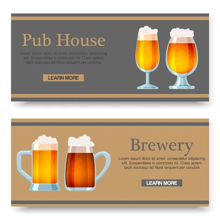 Set of vector cartoon banners with beer glasses for bar, pub, beershop or brewery. Ale and dark beer. Advertising posters or web illustration.