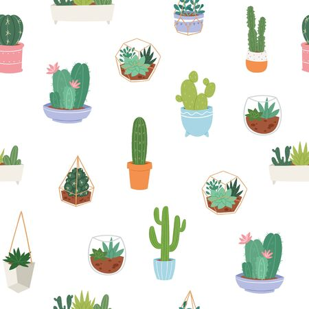 Vector seamless pattern with different cactus, green plants in pottery and succulents. Bright repeated texture with green cacti. Natural drawing background with desert plants. Ilustracja
