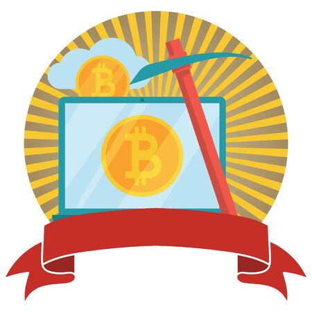 Bitcoin and cryptocurrency mining circled emblem with banner. Crypto currency bit coin. Web and Internet bitcoin money logo. Vector illustration.