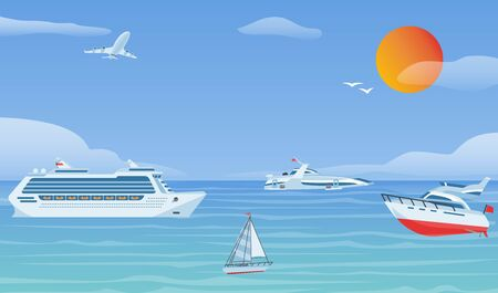 Sea boats and little fishing ships. Sailboats flat vector background illustration.Water transport yacht and ship sailboat in blue sea with sun, seagull and airplane.