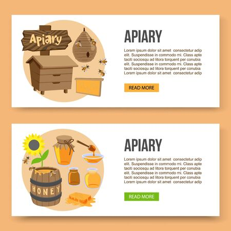 Vector poster template of apiary and honey theme. Illustrations of bee house, sun flower and honey. Bees and honeycomb and beekeeping hives.