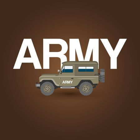 Military army car vector banner with ground forces battle offroad machine. Regular army car vector illustration. Idea of war transportation. Illustration