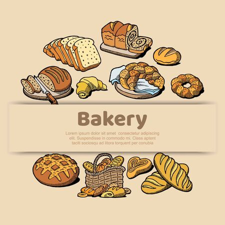 Bakery or bread house sketch poster of baked bread. Vector design template for baker shop of fresh wheat bread bagel or rye loaf and wheat ears sheaf