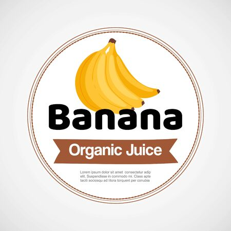 Banana vector label or logo illustration in circle isolated on white background. Bunch of yellow bananas. Organic food idea for fruit shops and labeling, tags and stickers. Illustration