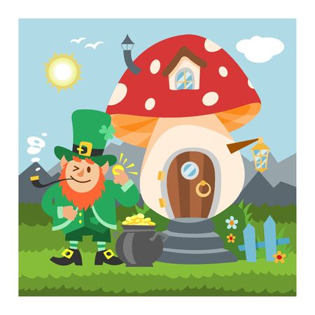 Fantasy gnome mushroom house vector cartoon fairy treehouse and magic housing village illustration set of kids gnome fairytale pumpkin or stone playhouse for gnome background