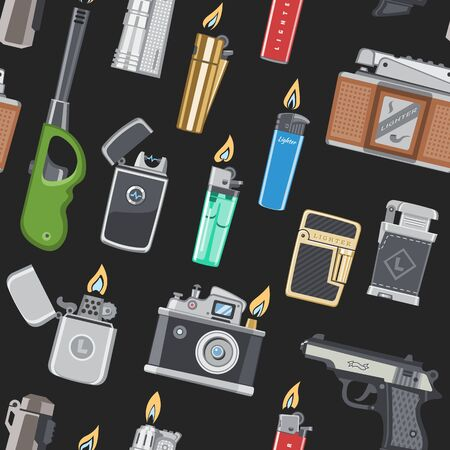 Lighter vector cigarette-lighter with fire or flame light to burn cigarette illustration set of flammable smoking gun pistol equipment isolated on background.