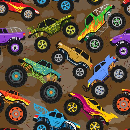 Monster truck show vector cartoon vehicle or car and extreme transport illustration set of heavy monstertruck with large wheels background 向量圖像