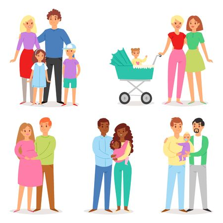 Family vector people character woman man children boy and girl together in love illustration set of gay and lesbian mom dad kids isolated on white background