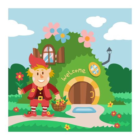 Fantasy gnome house vector cartoon fairy treehouse and magic housing village illustration set of kids gnome fairytale pumpkin or stone playhouse for gnome background Stock Illustratie