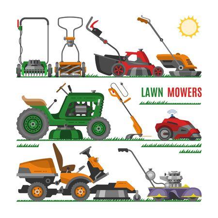 Rasenmäher Vektor Gartenarbeit Rasenmäher Ausrüstung Mähen Cutter Werkzeug Abbildung Set Rasenmäher Maschine Rasenmäher Traktor Gartentrimmer isoliert auf weißem Hintergrund Vektorgrafik