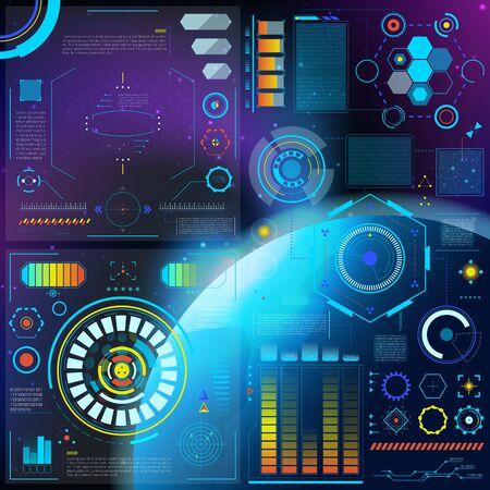Interfaz hud dashboard futurista panel espacial con interfaz con tecnología de holograma de interfaz en la pantalla interfacial de la barra digital en el conjunto de ilustraciones de la nave espacial