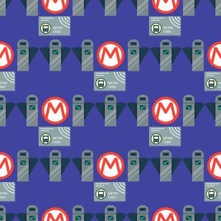 Metro station transportation modern railroad trip transit tunnel vehicle service seamless pattern Illustration