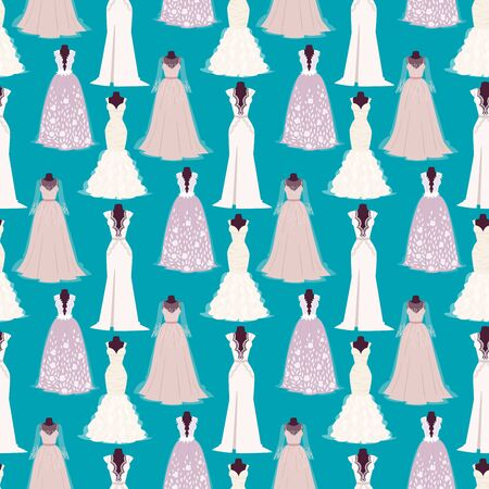 Wedding bride dress elegance style celebration bridal shower clothing accessories seamless pattern