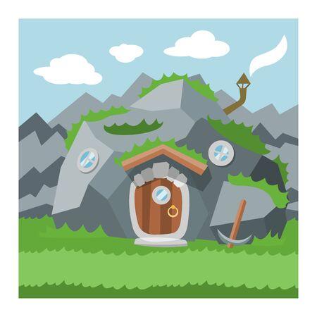 Fantasy gnome house  cartoon fairy tree house and magic housing village