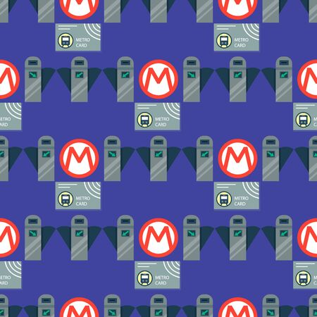 Metro station transportation modern railroad trip transit tunnel vehicle service seamless pattern background vector illustration.