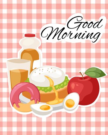 Breakfast brunch banner concept vector illustration. Healthy start of day. Eating in morning. Food collection with apple, sandwich toast, donut, boiled eggs and bottle of juice. Vector Illustration