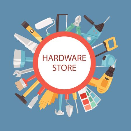 Hardware store banner vector illustration. Building tools in shop. Home repair. Construction equipment. Hand supplies for house renovation and rebuilding. Hammer, screwdriver, saw.