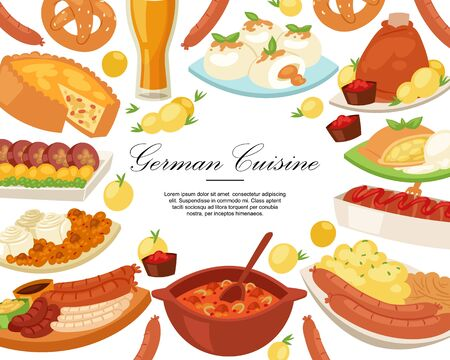German cuisine background banner vector illustration. Traditional food in Germany. Cooked meat meal sausages for dinner or lunch, bavarian snack and beer, baked ham hock.