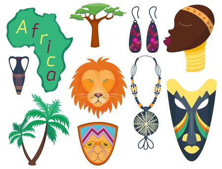 Africa icons jungle tribal and maasai ethnic african woman ancient safari traditional travel culture illustration