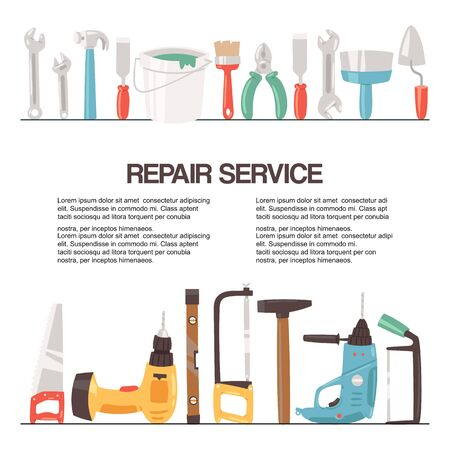 Repair service tools banner vector illustration. Home repair. Construction equipment. Hand supplies for house renovation and rebuilding. Hammer, drill, saw, putty knife and ruler.