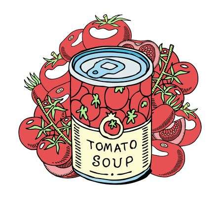 Tomatoes soup made of organic vegetables banner vector illustration. Healthy food. Can with meal. Natural products. Elements for menu, bar advertisement. Eating fresh amd tasty.