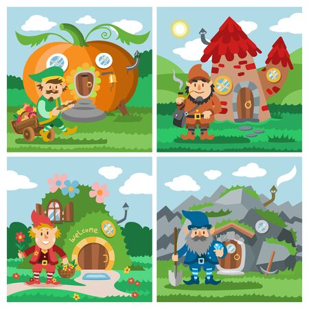 Fantasy gnome house vector cartoon fairy treehouse and magic housing village illustration set of kids gnome fairytale pumpkin or stone playhouse for gnome background Illustration