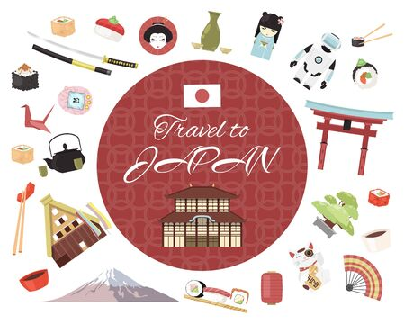 Travel to Japan banner vector illustration. Japanese style objects, accessories, places of interest. Traditional symbols such as fuji mountain, minka, sushi with chopsticks.