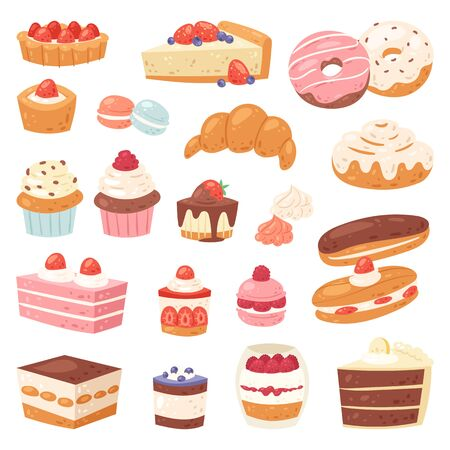 Cake chocolate confectionery cupcake and sweet confection dessert with caked candies illustration confected donut with chococream and sweets in bakery set isolated on white background Stock Photo