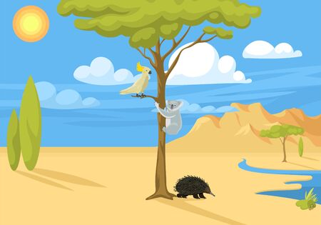 Australia wild background landscape animals cartoon popular nature flat style australian native forest illustration.