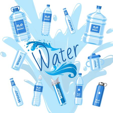 Water bottles made of plastic banner vector illustration. Healthy agua bottles with label. Clean pure drink in container. Super natural water on splash background for advertisement.