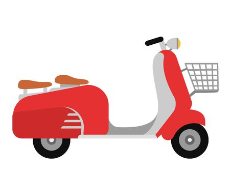 Retro scooter motorcycle travel design motorbike delivery vehicle illustration.