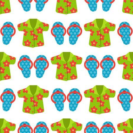 Beachwear cloth fashion looks vacation seamless pattern background sea light beauty clothes illustraton 写真素材