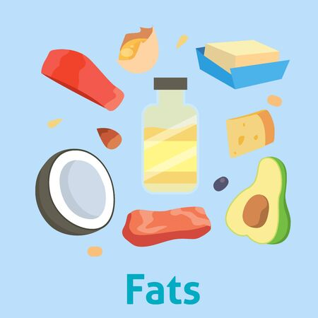 Fat food healthy diet oil avocado or fatty fish and nuts with natural omega 3 illustration set isolated on white background Banque d'images