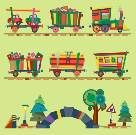 Kid train railroad baby cartoon toy or railway game locomotive gifted on Happy Birthday child in childhood kids train railroad station toys isolated on background illustration Banque d'images