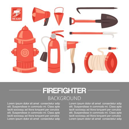 Red firefighter uniform and protection equipment set and instruments.