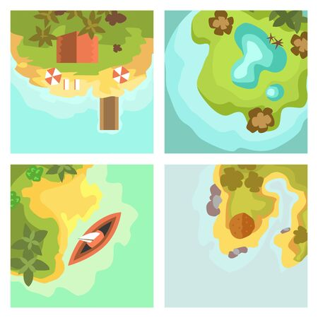 Cartoon tropical exotic island in ocean top view exotic lagoon map Stok Fotoğraf