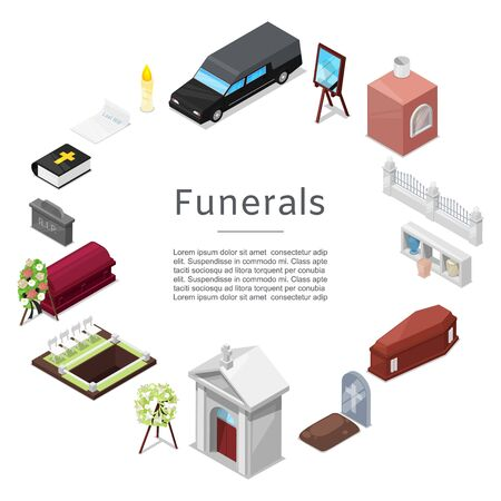 Funeral  icon set in isometric style for posters