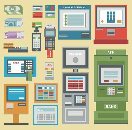 Icônes de carte de crédit main ATM argent post-terminal.