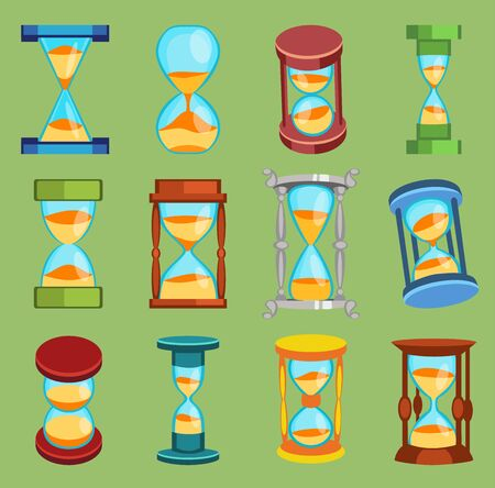 Sand glass watches time glass tools icons set, time hourglass sand clock flat design history second old object Stok Fotoğraf