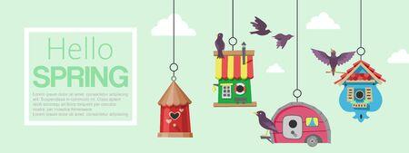 Birdhouses with flying birds Illustration
