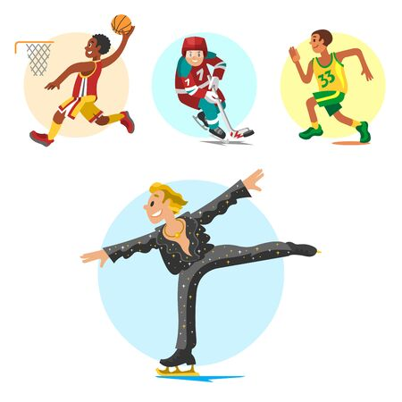 Health sport and wellness flat people characters sporting man activity woman athletic Illustration.
