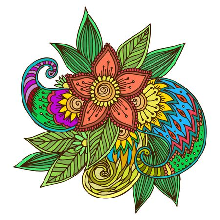 Henna tattoo mehndi flower doodle ornamental decorative indian design pattern paisley arabesque mhendi embellishment .