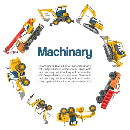 Machinery and construction equipment cars vector poster. Special machines for the building work. Forklifts, cranes, excavators, tractors with bulldozers and trailer and other machinery.